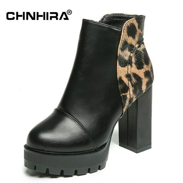 de9b3662643 CHNHIRA New Sexy Women's Ankle Leather Boots High Heels Punk Platform Women  Autumn Leopard Print Boots