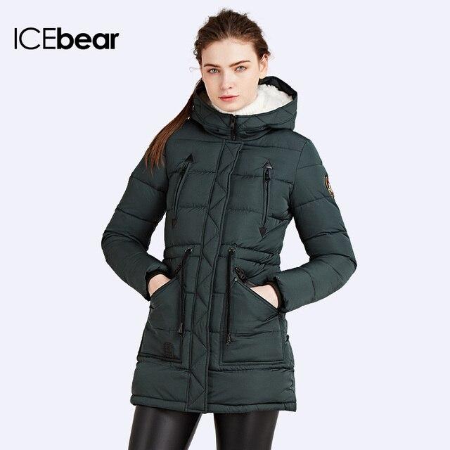 ICEbear 2016 Био-Пух Парка женская с утягивающим шнурком Женскийн тёплый Куртка с капюшоном Био-Пух Качественный Модель16G6229P