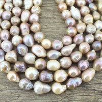 AA Long13 16mm handmade Jewelry Pearl Beads Strand Necklace Jewelry Freshwater irregular shape Baroque pearls Free Shipping P001