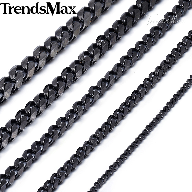 Trendsmax Black Color Necklace Men Stainless Steel Long Necklaces Cuban Chains 2018 Fashion Mens Jewelry Gift KNM09