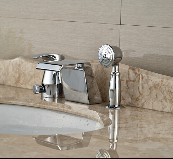 Widespread Deck Mounted Shape Tub Faucet 3pcs W/Hand Shower Bathroom Tap Mixer Tap new arrival contemporary chrome finish bathroom tub faucet set w abs handheld shower 3pcs mixer tap bathtub faucet deck mounted
