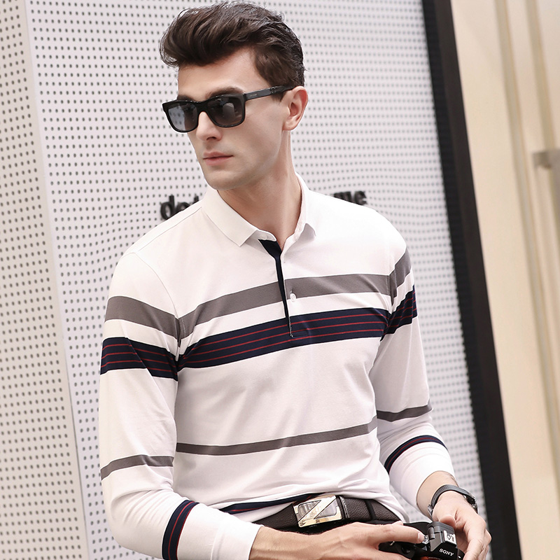 Tace & Shark Brand   Polo   Shirt Men Casual & Business Long Sleeve Striped   Polos   Shirts 2019 New Spring US Men   Polo   Shirts Homme