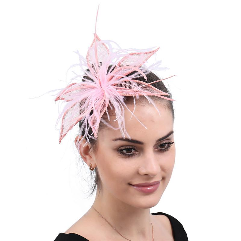 Pink Flax Mesh Bride's Hair Accessories Cheongsam Vintage Headpiece Wedding Banquet Party Handmade Vintage Feather Small Hat