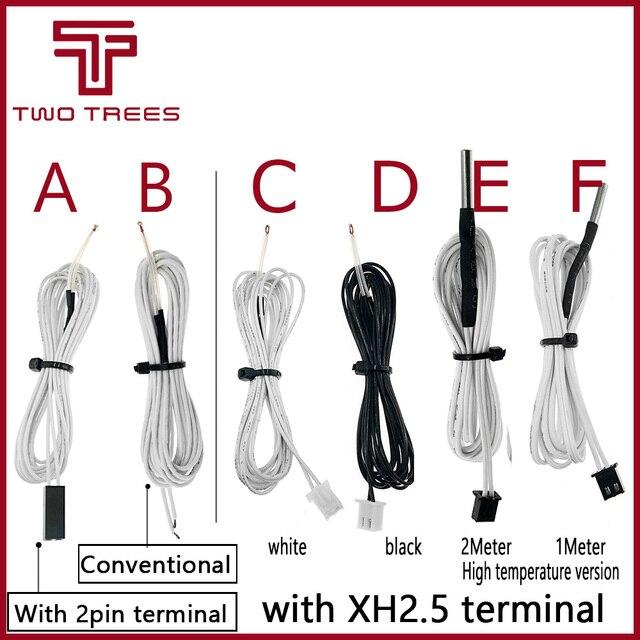 5 pçs/lote 100 K ohm NTC 3950 Termistores Sensores com Cabo 3D Parte Branca 1 M Linha de Temperatura de Peças de Impressoras acessórios