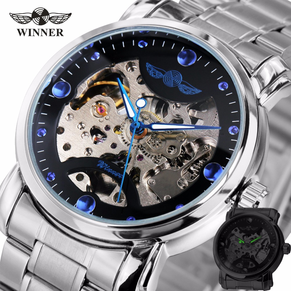 2018 WINNER Mens Luxury Mechanical Watch Stainless-steel Band Skeleton Dial Transparent Dial Blue Hands Wristwatch + GIFT BOX