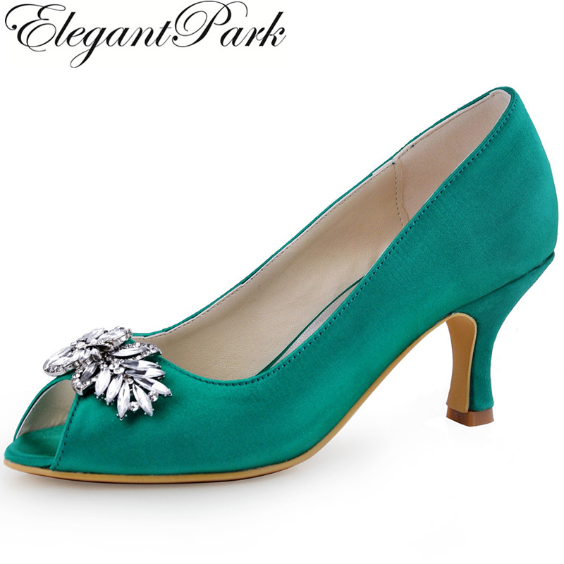 цена на Teal Woman Mid Heels Evening Party Pumps Peep Toe Rhinestones Satin Lady Bride Bridesmaid Bridal Wedding Shoes HP1540 Green Pink