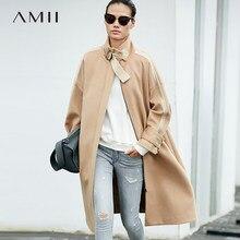 a725a1b7bd7 Amii Minimalist Long Wool Coat Women Winter 2018 Office Solid Loose Zipper  Patchwork Thick Fashion Female Woolen Jacket Coat