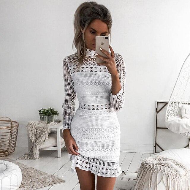55d22daf9b Nowe Mody Kobiety Lato Z Długim Rękawem Biały Koronka Wieczorne Party  Vestidos Krótkie Mini Sukienka