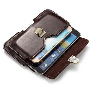 Image 3 - Uniwersalny zaczep na pasek kabura dla iPhone 6 7 8 plus 10 Retro dwie kieszonki mężczyzna talii torba dla Samsung S9 S8 plus S7 krawędzi S6 S5 uwaga 8