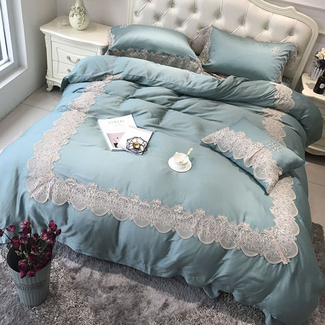 Exceptionnel 5 Pieces Blue Tencel Lace Bedding Set King Size Queen Bed Set Duvet Cover  Bed