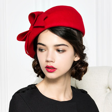 9d53446883d22 AliExpress.com Product – Brand Quality Classic Red Black Solid Bowler Beret  Caps Wool Felt Winter Women Hat Elegant Formal Church Hat Wedding Fedora Hat