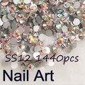 De Calidad superior SS12 1440 unids Cristal AB Redondo Rhinestones Del Arte Del Clavo Para los Clavos DIY Arte Del Teléfono Celular Y Decoración de La Boda