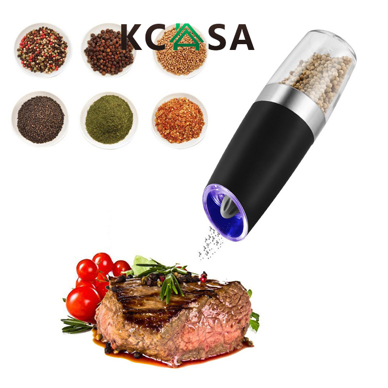 KCASA Automatic Electric Gravity Pepper Grinder LED Light Salt Seasoning Mill Muller Grinding Tool for kitchen Salt Shaker