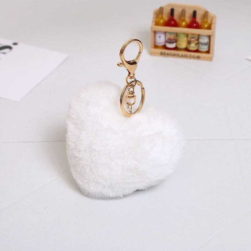 Multicolor 10cm imitatie faux groot hart konijnenbont sleutelhangers - Mode-sieraden - Foto 6