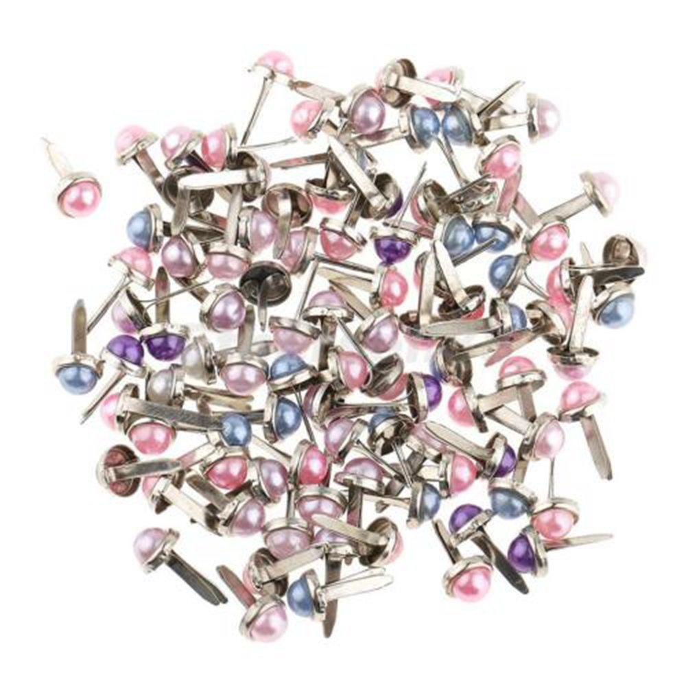 200pcs/Lots Head Pearl Split Pins Brads Paper Fasteners Scrapbooking Embellishment DIY Craft Kid Handmade Materials CZL8343