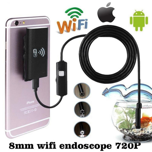 HD 2.0MP 8mm 2M Tube Waterproof Wifi  Wireless [not usb ] Endoscope For iOS Android Phone Iphone PC Endoscope micro mini Camera