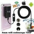 HD de 2.0MP 8mm 2 M de Tubo À Prova D' Água Sem Fio Wi-fi [não usb] endoscópio endoscópio para ios telefone android iphone pc mini micro câmera
