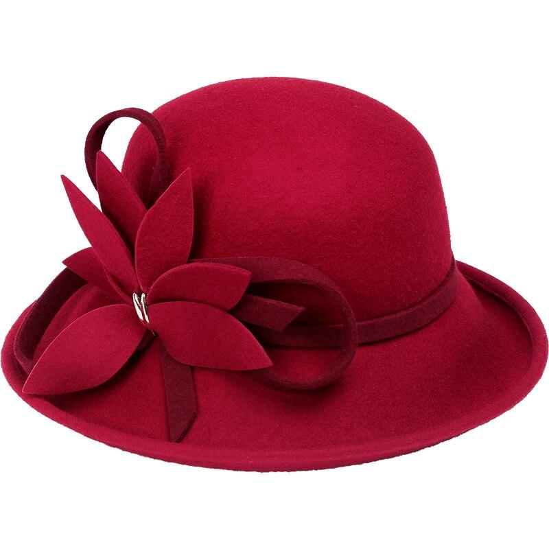 Wool Boater Flat Top Hat For Women's Felt Wide Brim Fedora Hat Laday Prok Pie Chapeu de Feltro Lady Hat