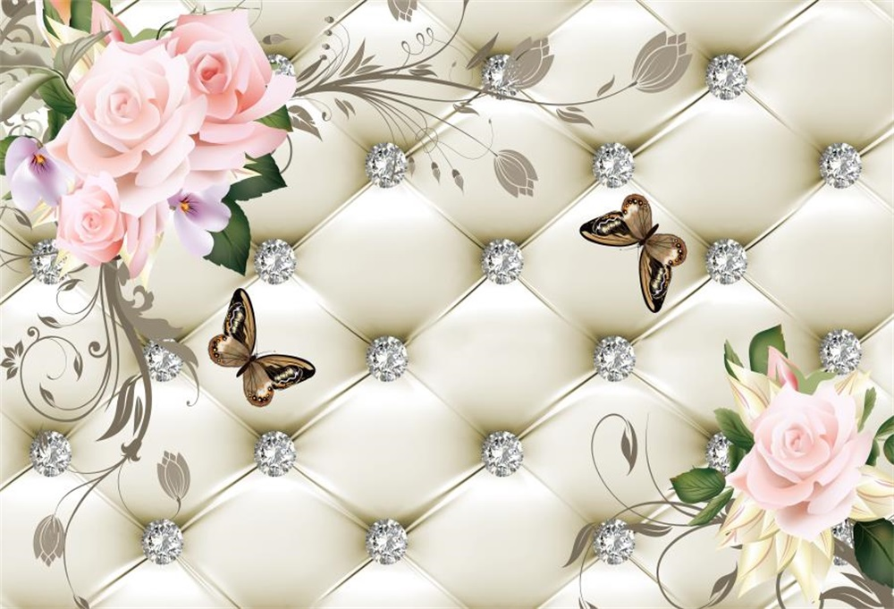 Cabecero de cama Floral de Laeacco Diamond Butterfly Scene Fondos - Cámara y foto