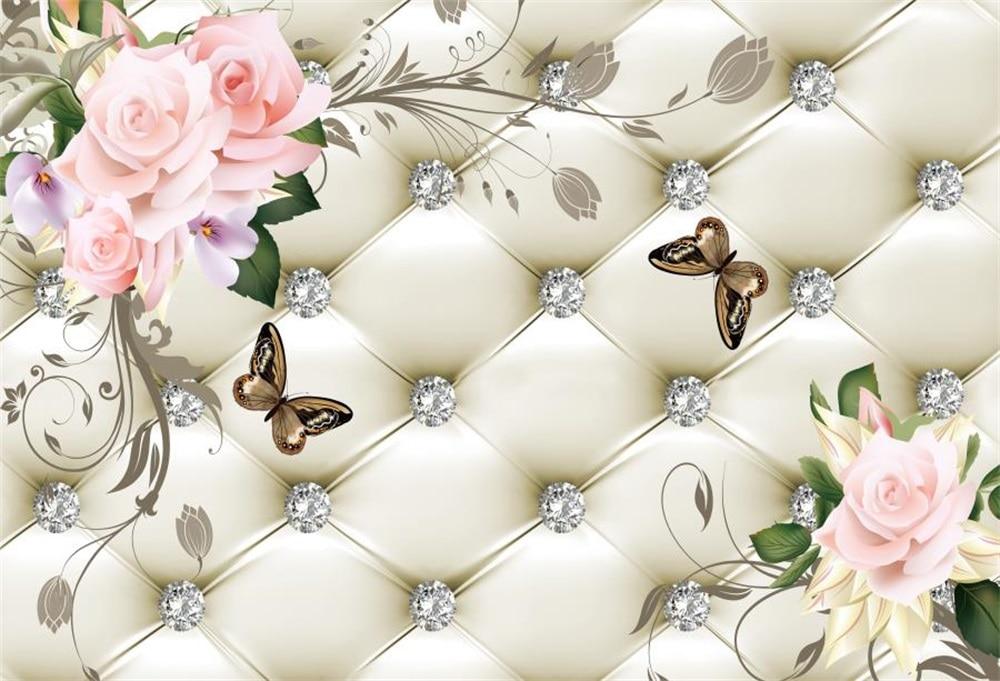 Laeacco Floral Bed Headboard Diamond Butterfly Scene Fundaluri - Camera și fotografia - Fotografie 1