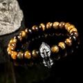 Mens bracelets silver helmet bracelet pulseras hombre tiger eye natural stone bracelet bracciale uomo brazaletes pulseras mujer
