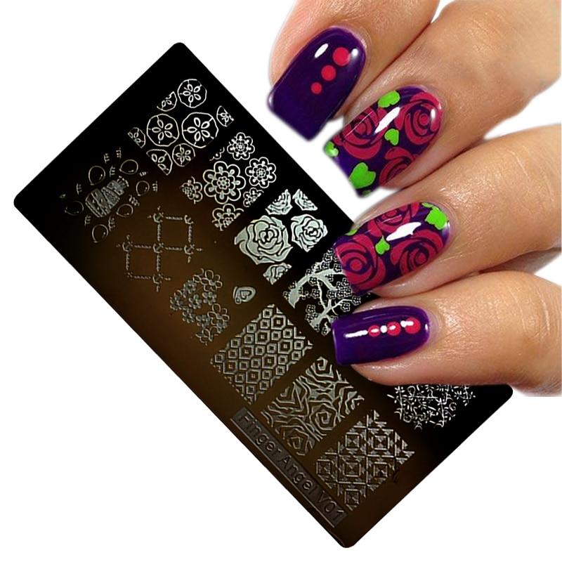1Pcs rectangle 6*12CM Nail Stamping Plates Konad Stamping Nail Art ...