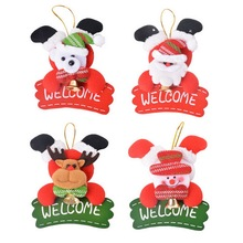 1PC Christmas Decoration For Home Ornaments Hanging Plate Christmas Tree Door Decoration Bell Santa Claus Reindeer Snowman Bear