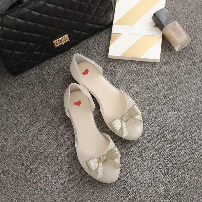 Hohner أحذية للنساء 2019 جديد الأبيض شقة جيلي صندل عارية CuteBow الأسماك الفم أحذية رخيصة مغلقة اصبع القدم الصنادل
