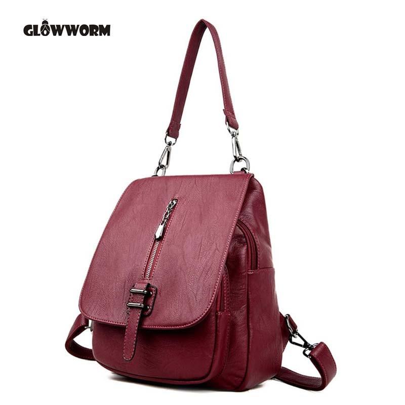 GLOWWORM Fashion Genuine Leather Backpack Women Bags Preppy Style Backpack Girls School Bags Zipper Kanken Sheepskin