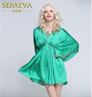 SIPAIYA 2017 Brand New Autumn Beaded Batwing Sleeve Mini Dress Green Color Sexy Deep V Neck