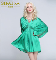 SIPAIYA 2017 Brand New Autumn Beaded Batwing Sleeve Mini Dress Green Color Sexy Deep V Neck