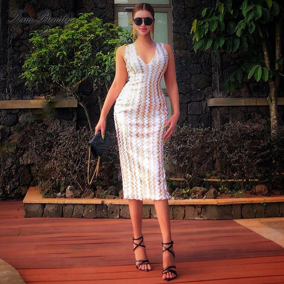 Tina beauté gracieuse miroitant col en V Zigzag robe mi-longue à paillettes femme dos sans sommeil fente robes de soirée Vestidos Verano 2019