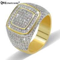 Mens Gold Finger Ring Fashion Cubic Zirconia Fully Iced Out Band Mirco Pave Hip hop CZ Bling Finger Rings