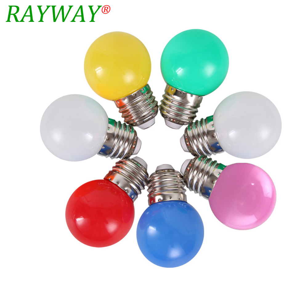 RAYWAY SMD2835 Colorful Energy Saving Globe Bulb E27 220V Red Yellow Blue White Lampada Bombillas LED Light Lamp For Home Decor