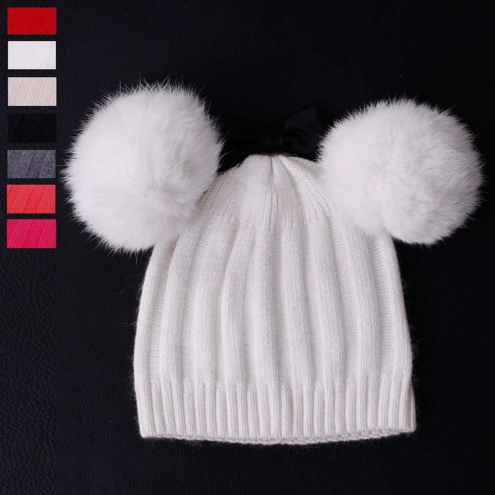 7 Color. Good quality Fur Pompom Hat Women Winter Wool Caps Knitted Hats Two Pom Poms Skullies Beanies Bonnet Girls Female Caps skullies beanies newborn cute winter kids baby hats knitted pom pom hat wool hemming hat drop shipping high quality s30