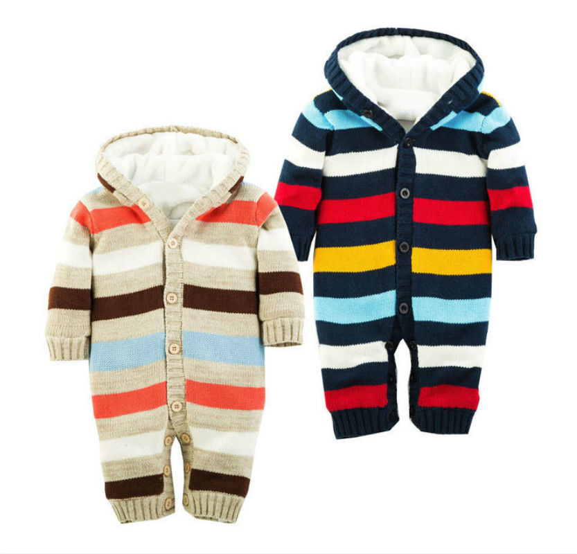 Long Sleeve Wool Winter Baby Clothes Outwear Hooded Warm Thicken Baby Rompers Christmas Colorful Stripe Knitting Roupa Infantil warm thicken baby rompers winter long sleeve organic cotton autumn