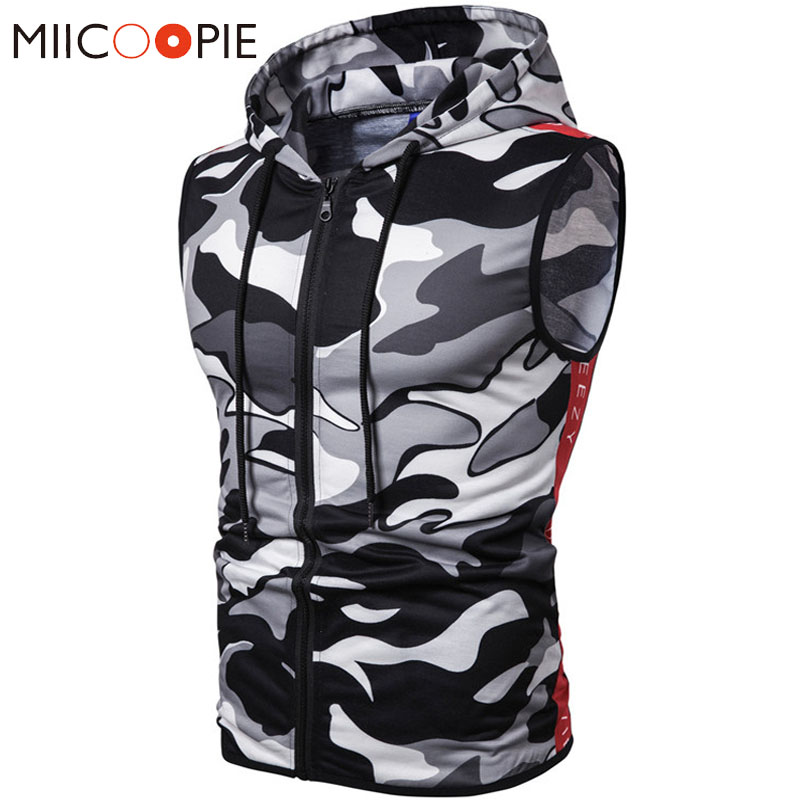 Mens   Tank     Tops   Shirt 2019 Summer Camouflage Gyms Bodybuilding Workout Sleeveless Hoodies Man Hooded Vest Male Camo Clothing