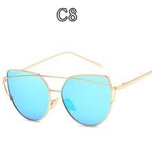 728f50d384024 AOOFFIV Gato Olho Óculos De Sol Das Mulheres de Design Da Marca Clássico  Moda Feminina Rosa de ouro Espelho Óculos de Liga Quadr.