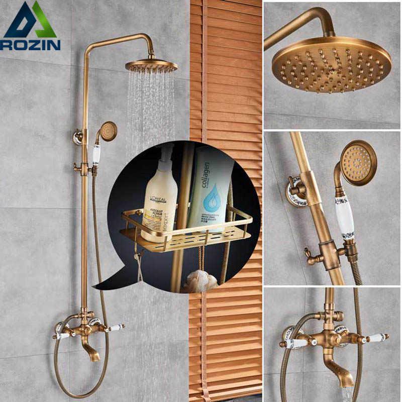 Antique Br Shower Faucet Set Mixer Tap Rainfall 8