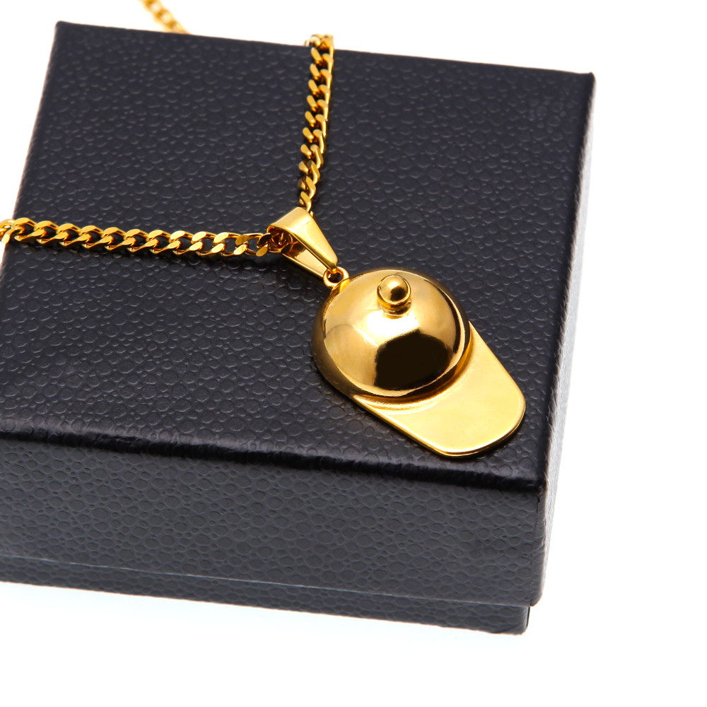 UWIN Hip Hop Hat Pendant Gold Palted Stainless Steel Trendy Gold Color Rock Punk Necklace Men Jewelry Sport Baseball Cap