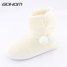 GOHOM 2017 Bedroom Home Women Warm Slippers For Home Use Winter Non-slip Slippers Fashion Bowtie Indoor Floor Home Shoes