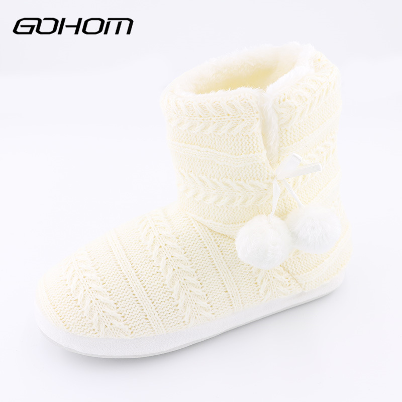 GOHOM 2017 Bedroom Home Women Warm Slippers For Home Use Winter Non slip Slippers Fashion Bowtie Indoor Floor Home Shoes