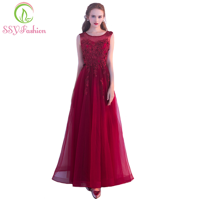 SSYFashion New Elegant Banquet Evening Dress Wine Red Lace Flower Appliques  Beading Long Party Formal Gown Custom Robe De Soiree 4b5e2bd86c29