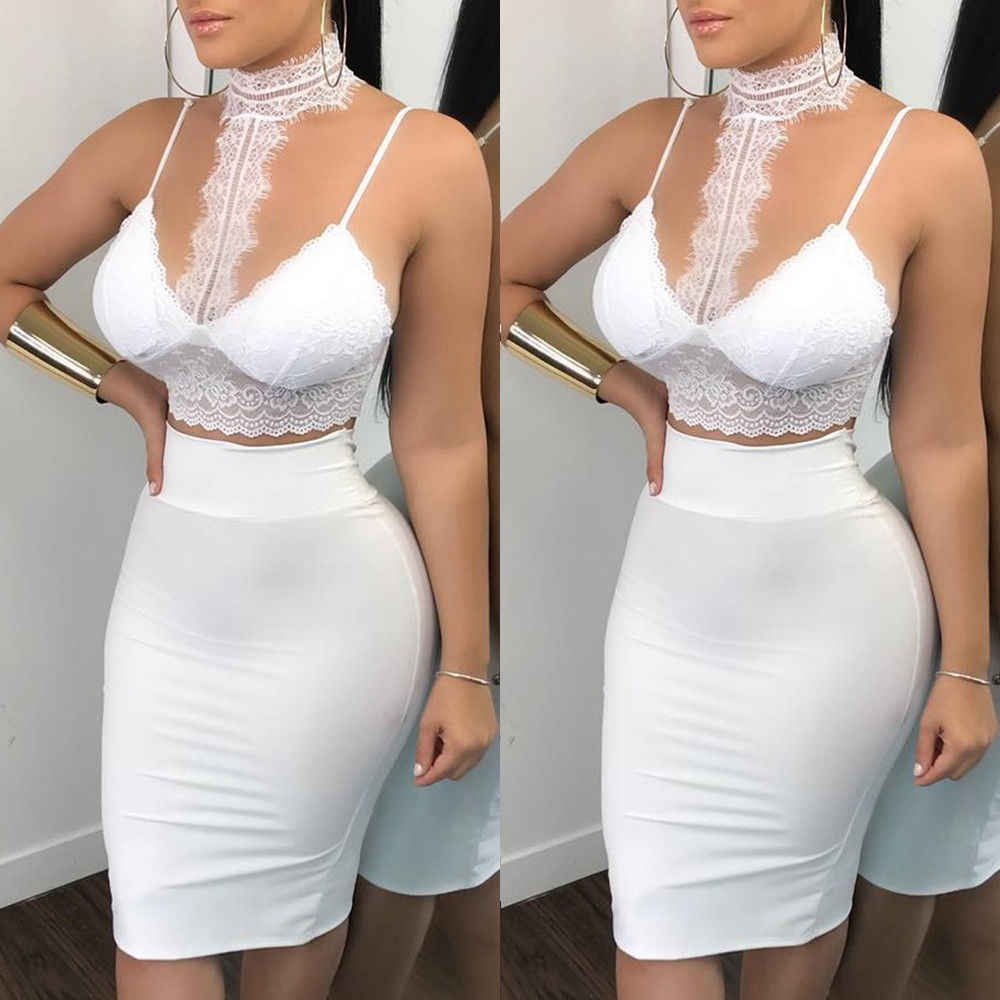 Detail Feedback Questions about 2018 Summer New Style Fashion Women Casual 2  Piece Two Piece Crop Top Set Bandage Dress Party on Aliexpress.com  05db2e4f6