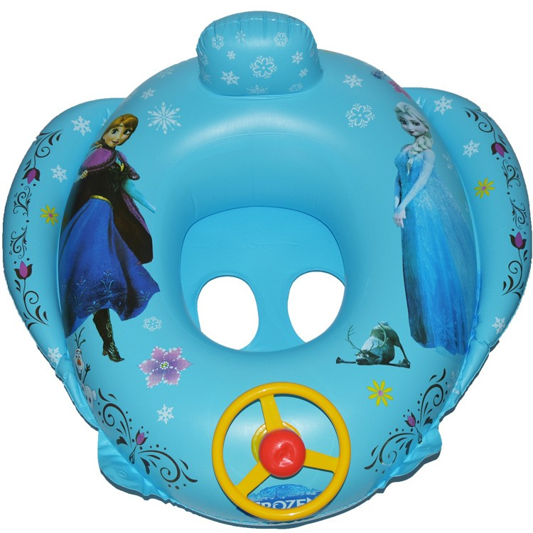 Inflatable Children Swim Ring Baby Sitting Circle Cartoon Floating Rubber Sound Steering Wheel Seat Float Car Swim Accessories
