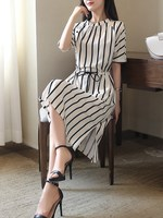 New Arrival Women Causal Fall Spring Summer High Quality Round Collar Button Half Sleeve Drawstring Striped