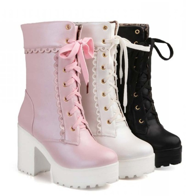 1109c915e1b Nice Pink Black White Lace Up Tied High Heel Student Shoes Sweet Lady  Cosplay Platform Chunky Block Mid Calf Short Boots 62