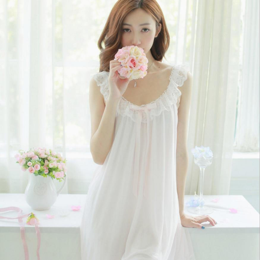 Sexy modal material sleep skirt Summer Sling Sleeveless V Neck Lace Sweet Sleeping skirt home colthing New Products L31