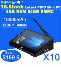 Newest 10.8 Inch 1920*1280 PIPO X10 Mini PC Windows 10 TV Box Z8300 Quad Core 4G RAM 64G ROM HDMI Media Box Bluetooth Win10