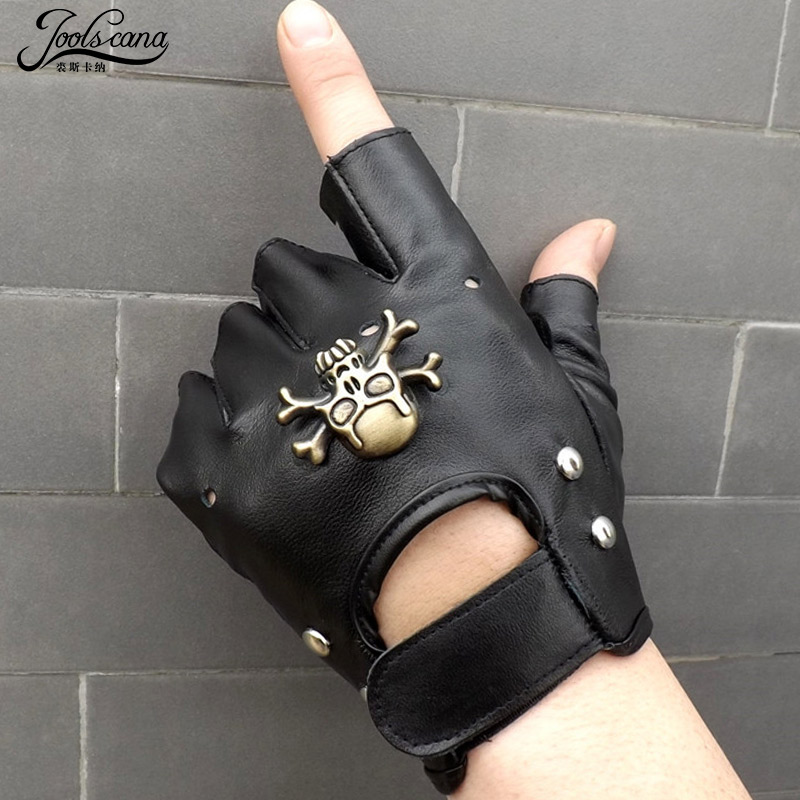 Joolscana Fingerless Gloves Men Leather With Metal Skull Cool Half Finger Driving Tactical Gloves Work Out Top Brand New Arrival